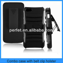 BLACK 3 in 1 RUGGED COMBO COVER WITH BELT CLIP HOLSTER KICKSTAND BELT CLIP CASE FOR IPHONE 5C(PT-I5C213)