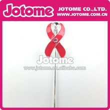 Red Breast Cancer Fashion Mini Latest Design Enamel Flashing Cake Topper for Wedding and Party Decorative