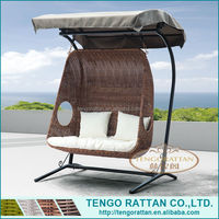 leisure outdoor PE rattan furniture garden weaving swing double hanging chair with canopy(Y9048W)