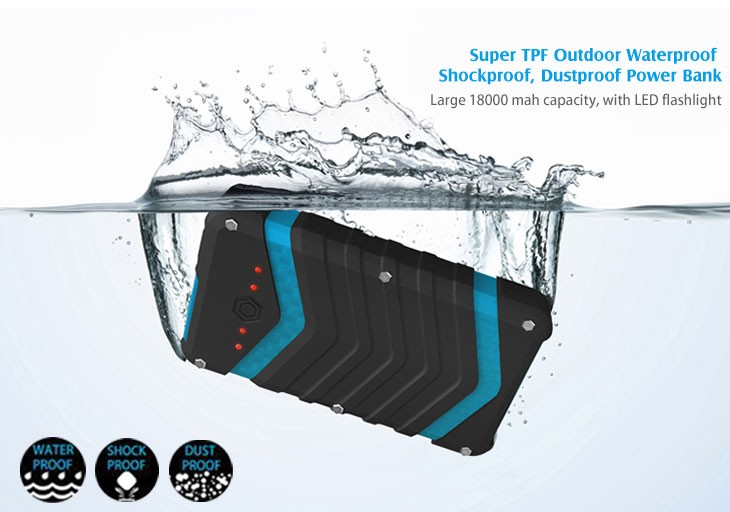 waterproof large capacity outdoor usb power banks