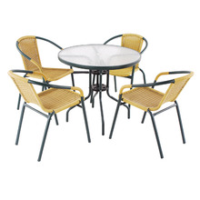 Classic arden cheap rattan dining table set outdoor rattan glass top tables and chairs dining table set