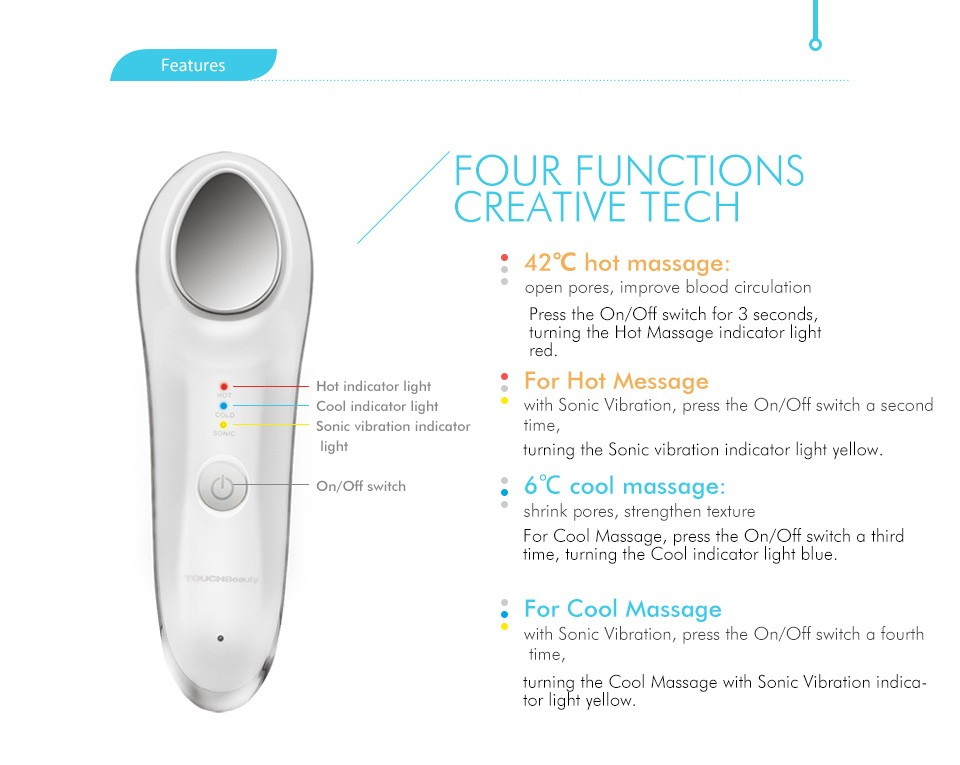 TOUCHBeauty Hot Cool Small Hand Held Vibrator For Skin Rejuvenation
