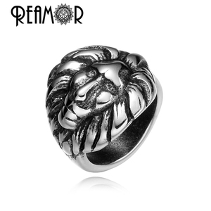 REAMOR American Popular Fashion Beads Wild Lion Head 316l Stainless Steel 8mm Big Hole Beads for Jewelry Making Animal Beads