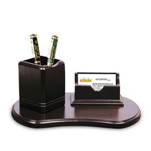 Office & school supplies wholesale black rotatey wooden pen holder name card stand