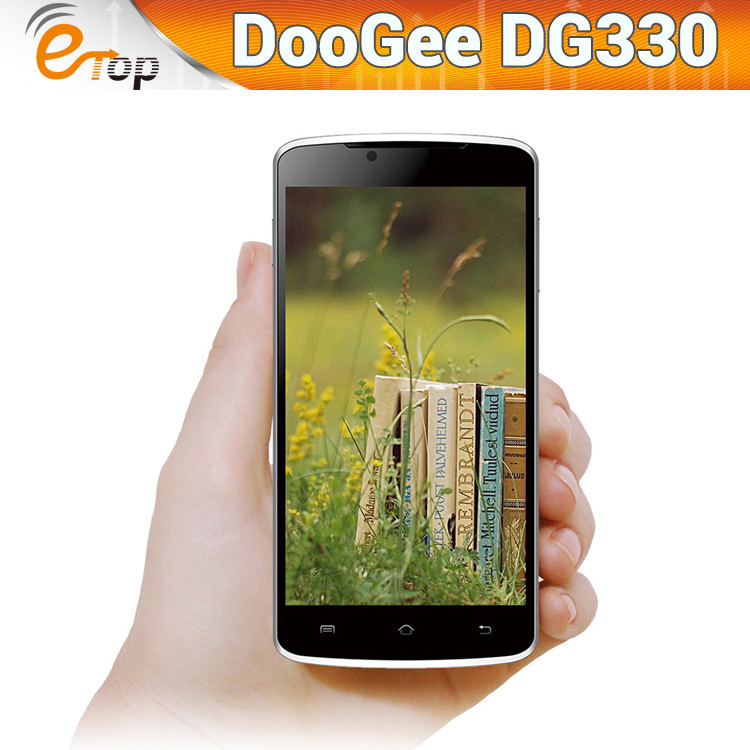 Original DOOGEE DG330 5.0'' Quad Core 1G RAM 4G ROM MTK6582 Android4.2 smartphone Dual sim 3G WCDMA 5MP 854x480 GPS Mobile Phone