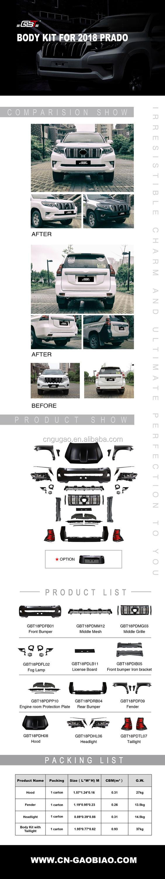 GBT auto parts front and rear  bumper and grille upgrade to 2018 body kit for Toyota Prado fj150 2010_2016