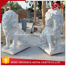 outdoor stone marble lion sculptures