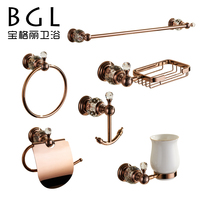 11300 crystal modern simple zinc rose gold finishing bathroom accessories set