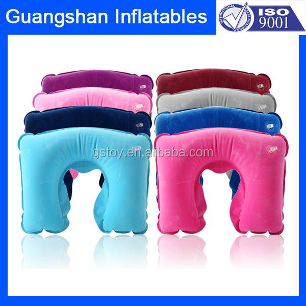 Head support flocked traveling Neck inflatable Pillow