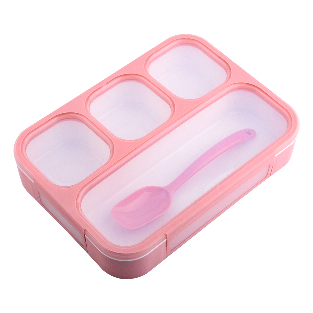 YY578P TPR Seal Leak Proof <strong>Plastic</strong> 4 Compartments Pink Bento BPA Free