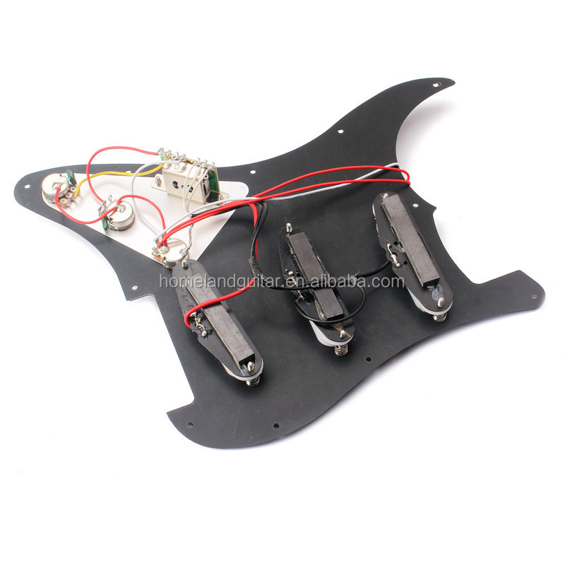 Black 3-ply Electric Guitar Prewired Pickguard SSS Scratch Plate