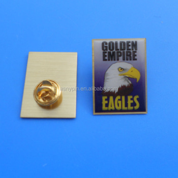 Gold Tone Empire Eagle Logo Metal Offset Printing Metal Label Pins 2018