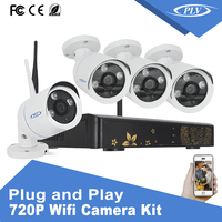 720Pixel wifi ip network smart home camera security system h.264 4ch dvr cctv camera kit