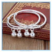 MECY LIFE 2015 wholesale high quality brracelets silver baby bells bangle