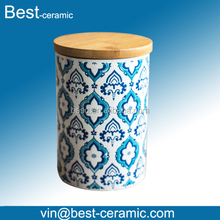 full printing ceramic silk screen bottle pot with bamboo lid
