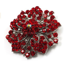 Victorian Corsage Flower fascinators Brooch (Silver&Bright Red