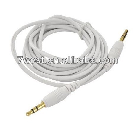 Universal 6ft 3.5mm to 3.5mm Stereo Audio Auxiliary Cable for iPhone iPod MP3-white