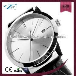 alloy case for man with high quality fashion man leather watch with Japanese movement simple face watch