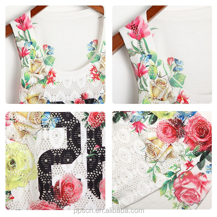 Latest fashion white printed sleeveless ladies tops for women