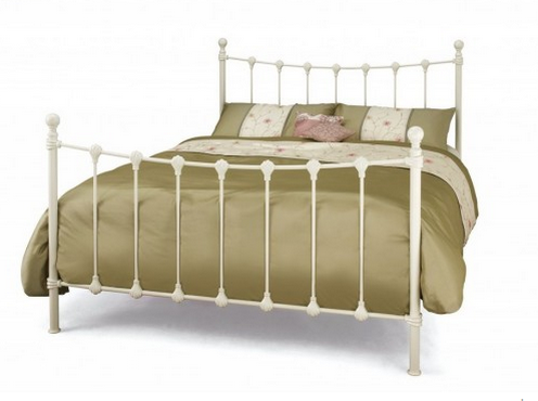 2016 New Design 4ft Small Double Ivory Metal Bed