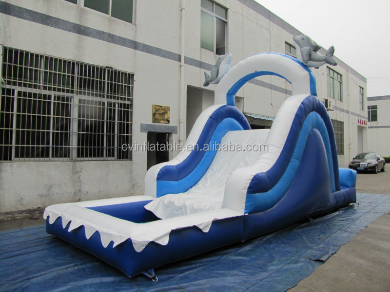children inflatable pool with slide and bounce house