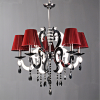 Flat European style laser iron cut fabric chandelier shade modern crystal pendant light 2105316