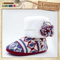 Fine Knitted Elegant Slipper Lady Footwear with Pom Poms