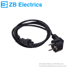 VDE approval 1.8m textile braided black euro 2 pin round plug ac power cord with stripped ends