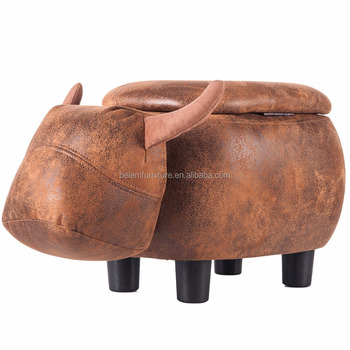 Buffalo Storage Ottoman Footstool Cute and Adorable Animal Upholstered Stool for Kids, Brown color