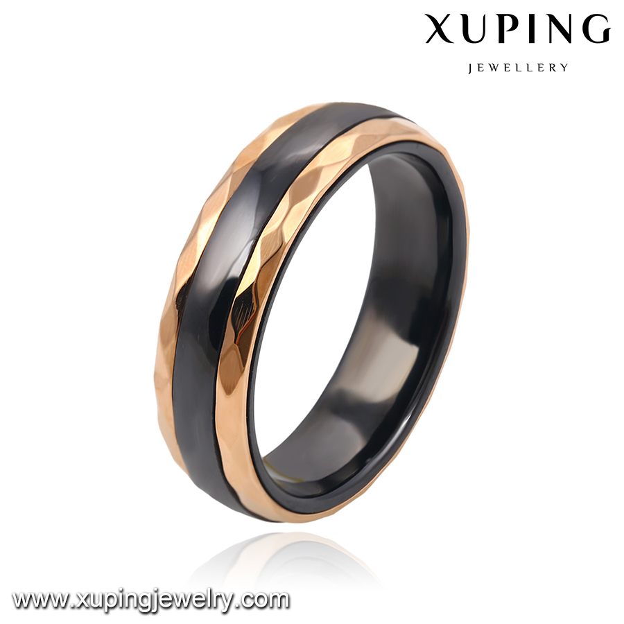 13905 xuping fashion stainless steel jewelry simple ceramic gold design for women rings