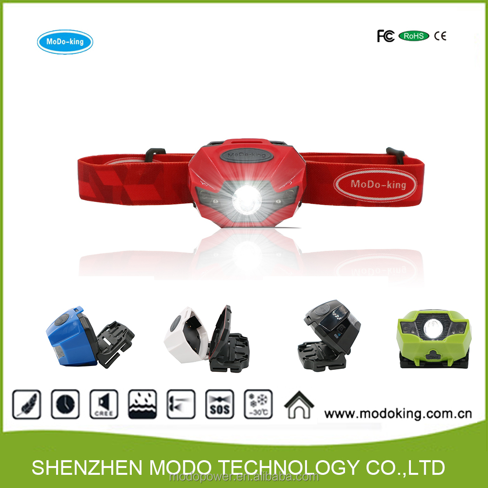 Factory wholesale high quality strong function camping flash light USB rechargeable AAA battery headlamp