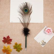 Top selling trendy style soft peacock feather ballpoint pen from China