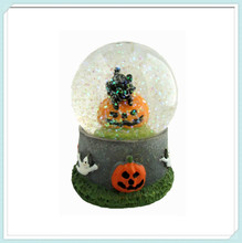 Miniature lantern pumpkin black cat ghost resin halloween snow globe