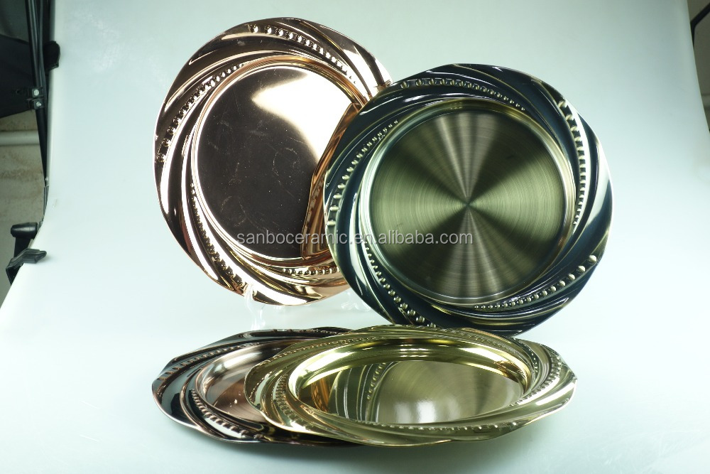 cheap metal cake and fruit dinner dishes&plate in stock