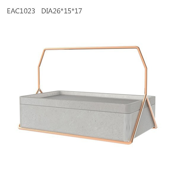 Popular concrete rectangular arabic tray with metal handle multifunctional cement home decoration