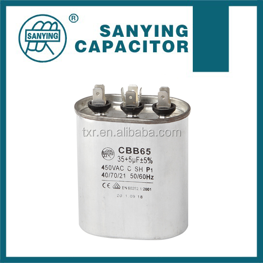 Air Conditoner Parts Aluminum Can Cylindrical AC Motor Run Capacitor CBB65