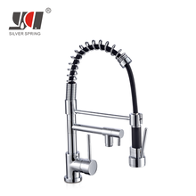 Direct factory three way dual flow spring double spout bow pull-down bow brass single handle pull out sink kitchen faucet