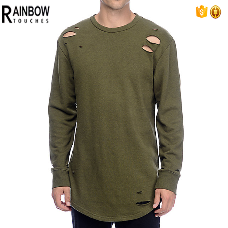 Distressed Custom Drop Tail T Shirt Dry Fit Long Line Curved Hem Tee Men Oversize Blank Double Layer T-Shirt