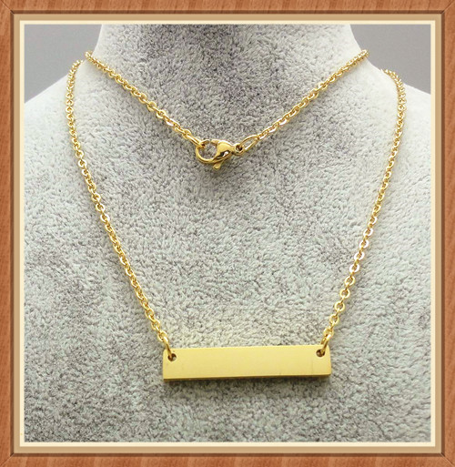 High quality stainless steel custom blank gold bar necklace wholesale fashion jewelry hot sale