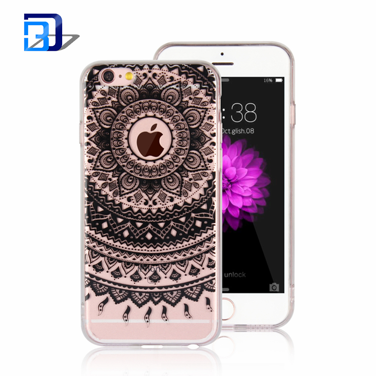 Premium Quality Henna Mandala Floral Case Hard PC Back + Soft TPU Bumper Crystal Clear Case Cover For iPhone 6 6S Plus
