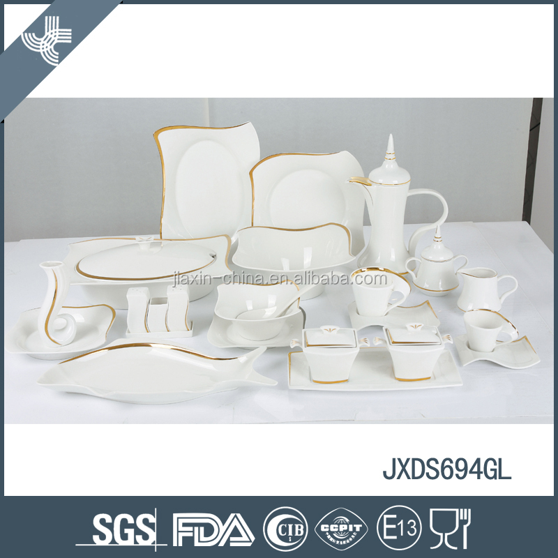 2015 NEW STYLE! 69pcs fine porcelain square dinner set with gold rim