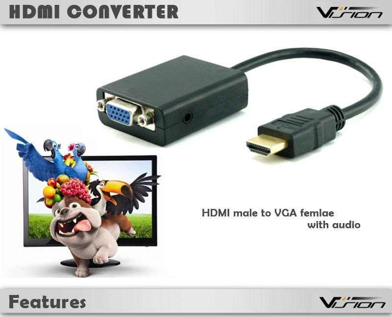 23cm black standard HDMI male to VGA female adapter cable with audio out for laptop