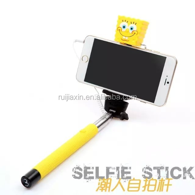 2015 cute cartoon mini selfie stick Monopod Pocket Size Take Pole + wireless Bluetooth remote Shutter release