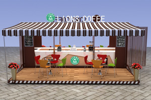 High quality modular shipping container restaurant with stairs and rails to the top