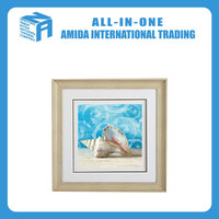 Blue conch pattern adornment wall oil painting