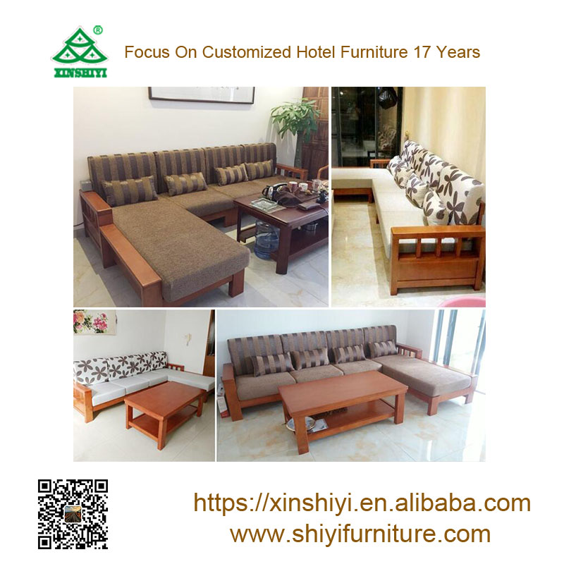 Modern Home office Furniture L shape wooden leisure Fabric <strong>Sofa</strong>