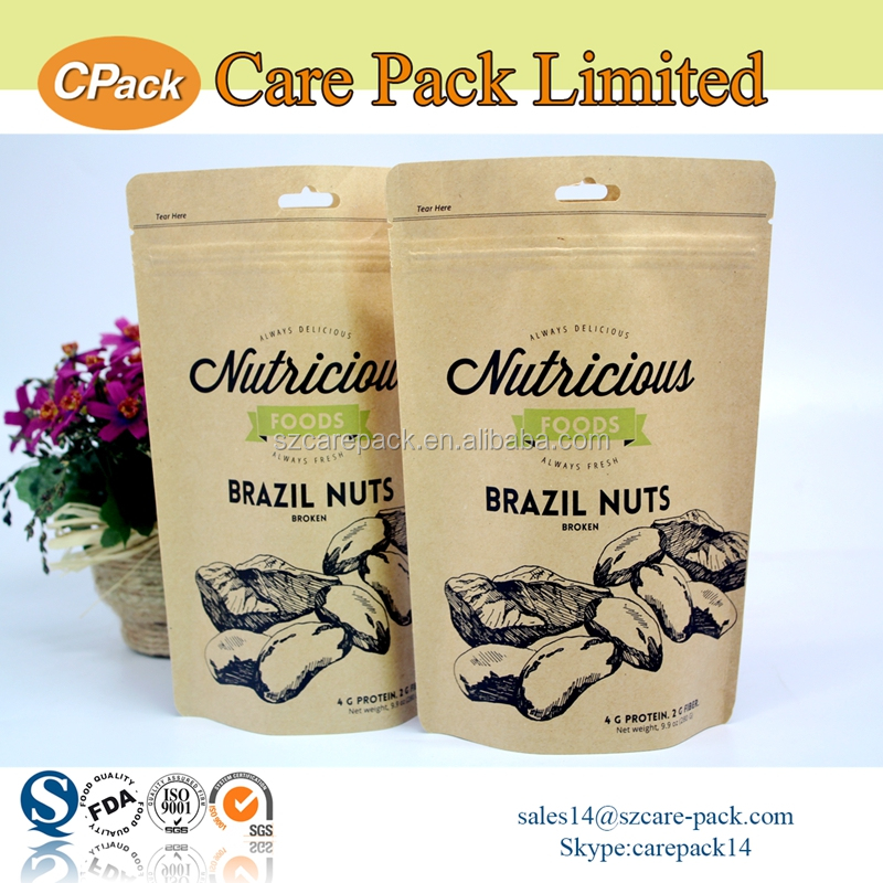Custom printed nut stand up kraft paper pouch with zipper