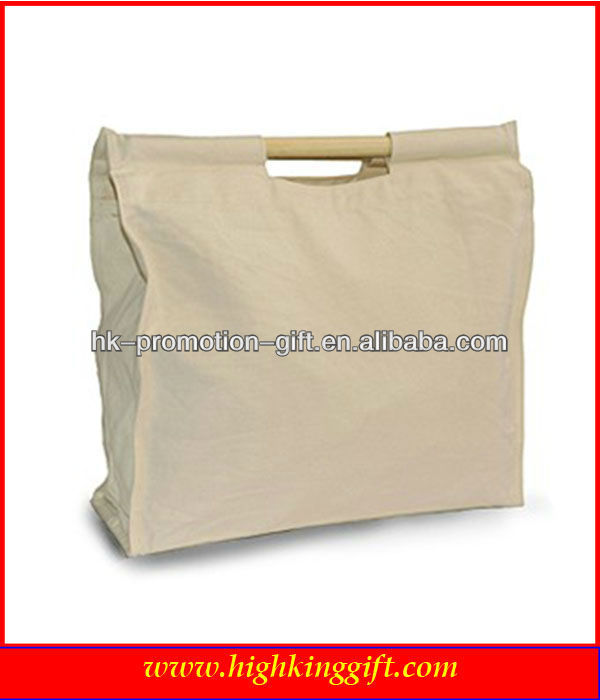 100% personalise cotton canvas grocery shopping bag with wooden handle