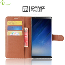 Custom Litchi Grain Leather Wallet Flip Cover Case For Samsung Galaxy Note 8 With Card Slots