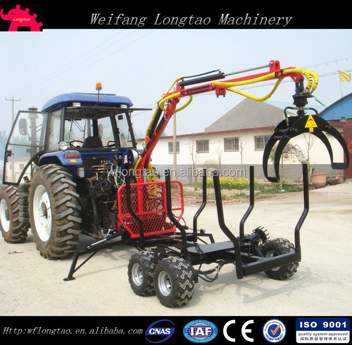 Tractor Hydrualic driven Log Wagon with Crane and 4WD Automatic Roller drive